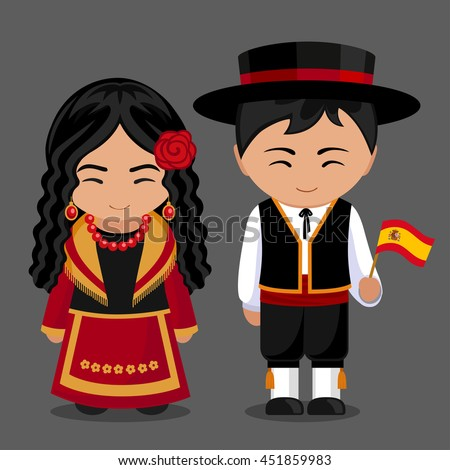 Spanish National Dress Flag Boy Girl Stock Vector Royalty Free
