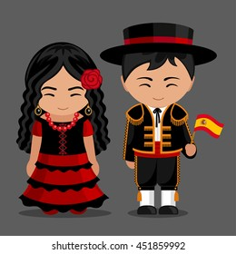 Spanish in national dress with a flag. Man and woman in traditional costume. Travel to Spain. People. Vector flat illustration.