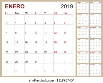Spanish planning calendar 2019, Spanish calendar template for year 2019, set of 12 months, week starts on Monday, printable calendar templates vector illustration