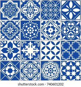 Spanish or Portuguese vector tile pattern, Lisbon floral mosaic, Mediterranean seamless navy blue ornament Ornamental tile background, background inspired by Spanish and Portuguese traditional tiles