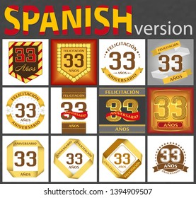 Spanish set of number thirty-three years (33 years) celebration design. Anniversary number template elements for your birthday party. Translated from the German - congratulation, years, anniversary