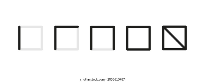 Spanish tally marks from one to five. Lines or sticks. Simple mathematical count visualization, prison or jail wall counter. Set of number icons. Vector illustration isolated on white background.
