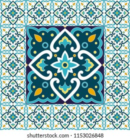 Spanish tile pattern floor vector with mosaic print. Big ceramic element in center is framed. Background with portuguese azulejos, mexican talavera, italian sicily majolica, moroccan motifs.