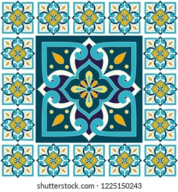 Spanish tile pattern floor vector with vintage mosaic print. Big ceramic element in center is framed. Background with portuguese azulejos, mexican talavera, italian sicily majolica motifs.