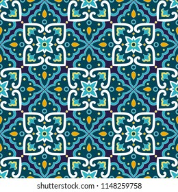 Spanish tile pattern vector seamless with floral ornaments. Portuguese azulejos ceramic, mexican talavera, italian sicily majolica design. Texture for kitchen wallpaper or bathroom flooring.