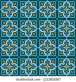 Spanish tile pattern vector seamless with vintage ornaments. Portuguese azulejos, mexican talavera, italian sicily majolica. Texture background for mosaic wallpaper, ceramic floor or fabric.