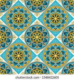 Spanish tile pattern vector seamless with flowers motifs. Portuguese azulejos, mexico talavera, venetian ceramic, italian sicily majolica. Mosaic background for kitchen wall or bathroom floor.