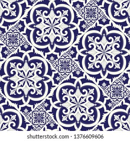 Spanish tile pattern vector seamless with parquet motifs. Portuguese azulejos, mexican talavera, delft dutch ceramic or italian sicily majolica. Texture for kitchen wallpaper or bathroom floor.