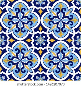 Spanish tile pattern vector seamless with floral motifs. Sicily italian majolica, portuguese azulejos, mexican talavera, venetian ceramic. Vintage background for kitchen wall or bathroom floor.