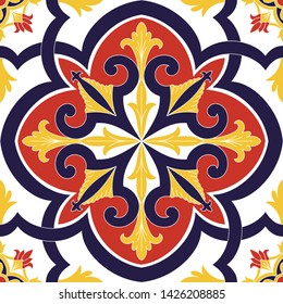Spanish tile pattern vector seamless element with vintage ornament. Portuguese azulejos, mexican talavera ceramic, italian sicily majolica. Texture for kitchen wall mosaic or bathroom floor.