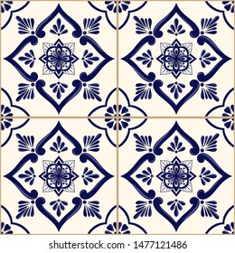 Spanish tile pattern vector seamless with blue and white ornament. Portuguese azulejos, mexican talavera, sicily majolica or delft dutch ceramic. Mosaic texture for kitchen wall or bathroom floor.