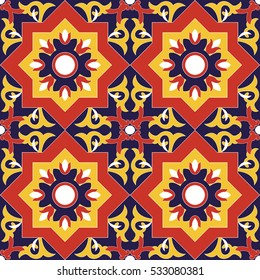 Spanish tile pattern vector seamless with flowers motifs. Azulejo portuguese tiles, mexican talavera or italian majolica motifs. Tiled print for wrapping, background or ceramic.