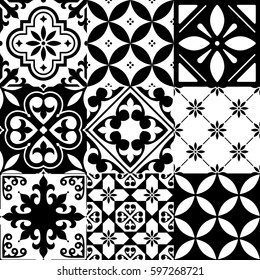 Spanish tiles, Moroccan tiles design, seamless black pattern