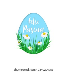 Spanish translation Happy Easter – Feliz Pascua. Vector card, poster Happy Easter in spanish language into egg with spring flowers and green grass isolated on white background. Paper cut card design.