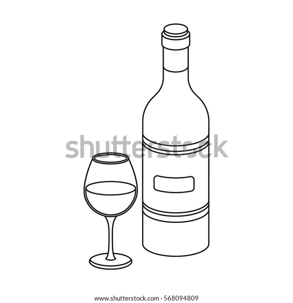 Spanish wine bottle with glass icon in outline style isolated on white background. Spain country symbol stock vector illustration.