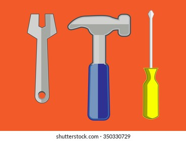 Spanner, hammer and screwdriver, isolated vector
