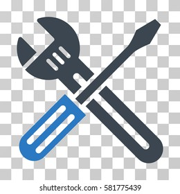 Spanner And Screwdriver vector pictogram. Illustration style is a flat iconic bicolor smooth blue symbol on a transparent background.