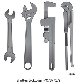 Spanners set. Illustration on white background for design.