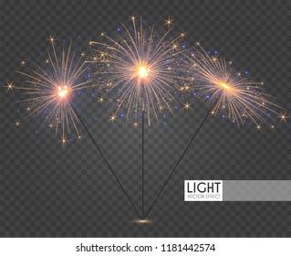 Sparcler and Firework. Christmas Decoration Lights. Transparent Light Effect. Vector illustration