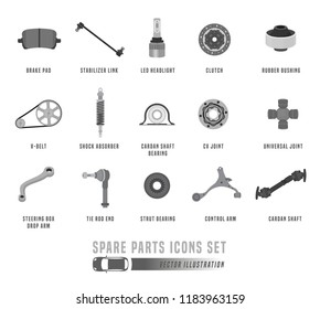 Spare parts, accessories and consumables icons set. Editable vector illustration in monochrome colors isolated on white background. Automotive, repair and auto sales concept.