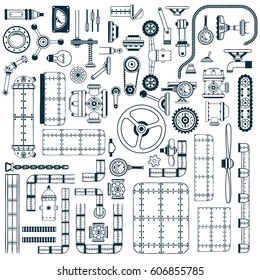 Spare parts for building machines, devices, apparatus in doodle style. Monochrome vector illustration.
