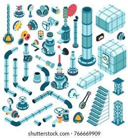 Spare parts for creating complex industrial steampunk machines - pipes, cranes, hulls, valves, splitters, fittings, flanges, portholes and so on. Isometric 3d illustration.
