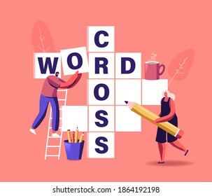 Spare Time, Brain Training, Puzzle Solving Concept. Tiny Characters Solve Huge Crossword Filling Empty Boxes with Letters. People Have Fun Thinking on Riddle, Logic Game. Cartoon Vector Illustration