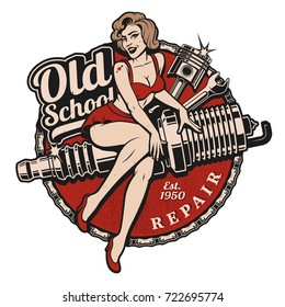 Spark Plug Pin Up Girl illustration with piston and wrench. Vintage style. (Color version) All elements, text are on the separate layer.