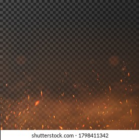 Sparkes vector effect. Overlay on top of your design to give it a hot effect or burning and flying sparks. Realistic Burning hot sparks.  Flying up embers and smoke flying in the air. Vector effect