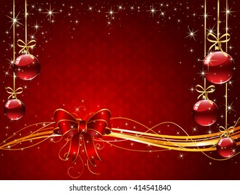Sparkle background with snowflakes, red bow, Christmas balls and stars, illustration.