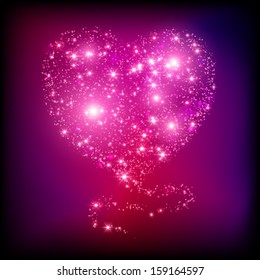 Sparkle bright pink heart. Light card for Valentine's Day