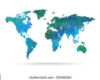 Sparkle diamond vector world map vector illustration