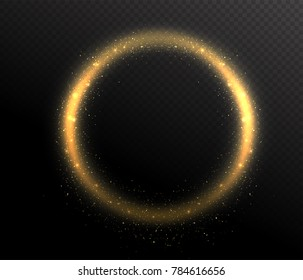 Sparkle glitter circle round shape frame. Glow dust in the air. Gold flow on dark transparent background. Vector illustration
