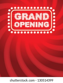 Sparkle Grand Opening text with red background - vector