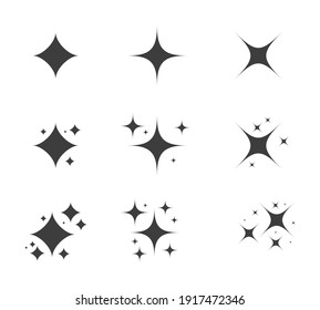 Sparkle icon set. Shiny cartoon stars. Glowing light effect stars and bursts collection