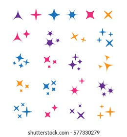 Sparkle lights stars set. Glowing light effect star. Sparkle lights vector