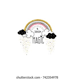 sparkle rainbow, nursery illustration