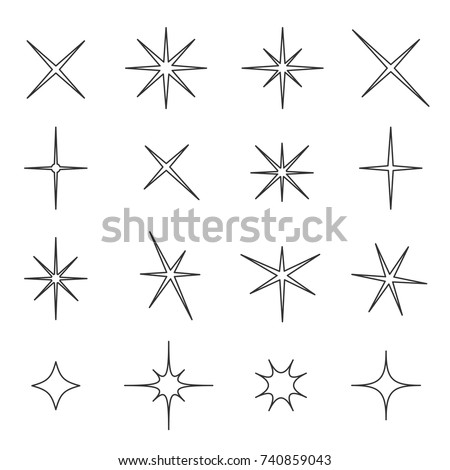 842bad27d36d Sparkle Star Line Set Wedding Christmas Stock Vector (Royalty Free ...