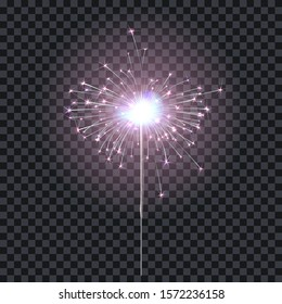 Sparkler or bengal fire lighting element festive decoration. Magic firework for holiday and birthday. Isolated on transparent background. Vector stock illustration.