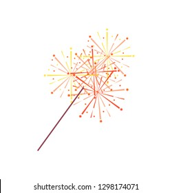 Sparkler or bengal light isolated icon. Vector burning pyrotechnic item in flat style, realistic holiday celebration fireworks, sparkling and flowing fire