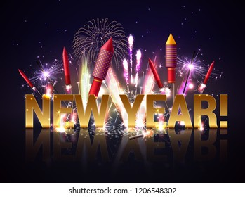 Sparkler bengal lights pyrotechnics realistic new year composition with luminous particles editable text with reflections vector illustration