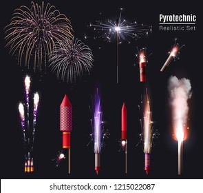Sparkler bengal lights pyrotechnics realistic set of isolated firework display spots and pyrotechnic devices in action vector illustration