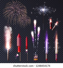 Sparkler bengal lights pyrotechnics realistic transparent set with isolated images of luminous spots and pyrotechnic supplies vector illustration