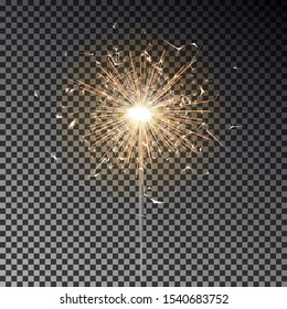 Sparkler candle vector isolated. Bengal fire light effect. Birthday firecracker sparkle effect. Vector illustration.