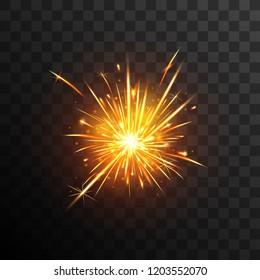 Sparkler effect. Firework. Fiery sparks.