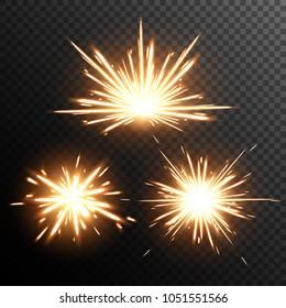 Sparkler, effect vector. Glowing sparks. Explosion. Bengal light. Firework.