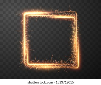 Sparkler frame, great design for any purposes. Shiny magic star. Isolated golden garland border. Holiday glowing backdrop. Christmas celebration background illustration. Shiny square shape with sparks