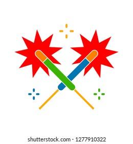 sparkler icon - sparkler isolated, amplifier illustration- Vector