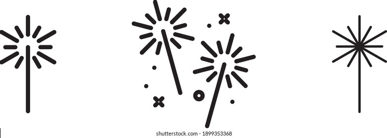 Sparkler icon, vector line illustration