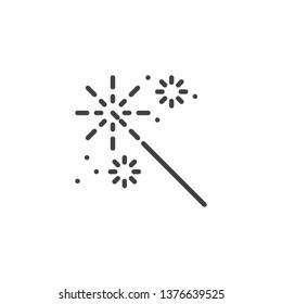 Sparkler stick line icon. linear style sign for mobile concept and web design. Bursting fireworks outline vector icon. Symbol, logo illustration. Pixel perfect vector graphics